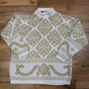 Vintage Shiny Gold & White Holiday Sweater EUC